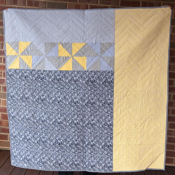 Grey and Yellow Chevron Quilt  - Cassandra Madge