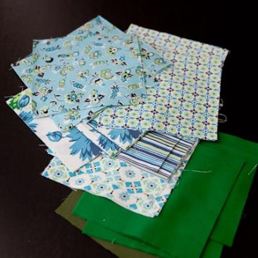 Spring quilt in blues and greens