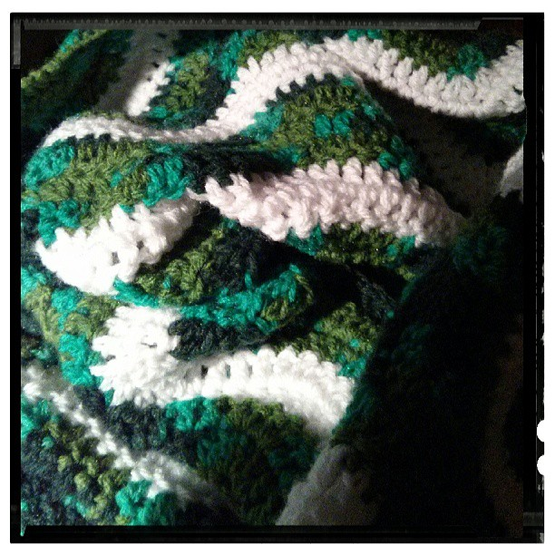 Crocheting another ripple blanket for a friend who has discovered that she isn't very good at crochet!
