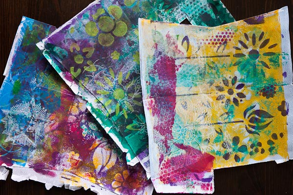 Some awesome Gelli Plate backgrounds on old envelopes