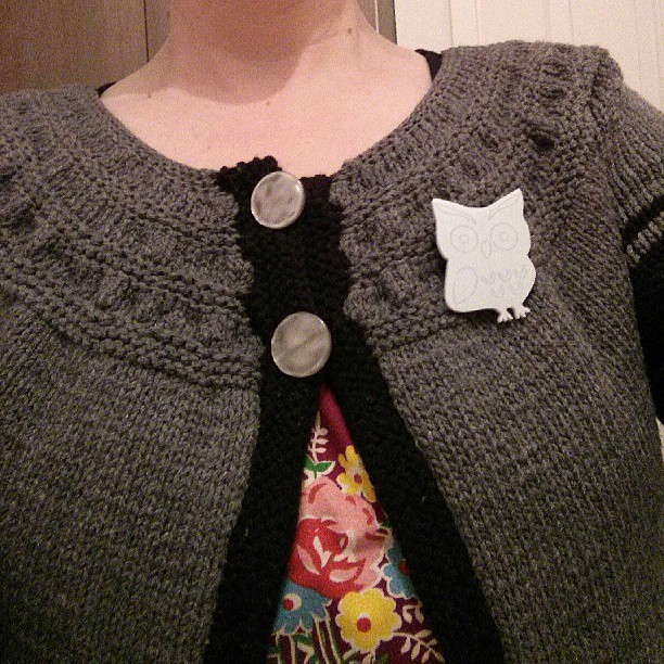 Beautiful new Brooch on my hand-knitted cardigan.