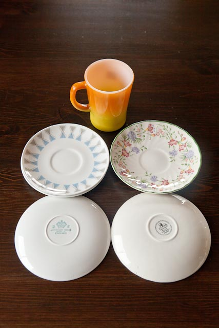 Pyrex mug, 3 Johnson saucers and 2 more modern Staffordshire saucers. All in excellent condition.