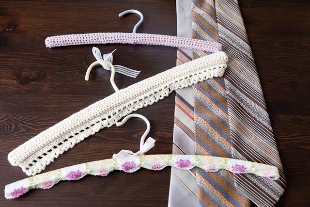 Set of 3 crochet/lace coathangers, and 3 awesome vintage ties for DS1's collection.