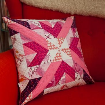 Pink star cushion finished