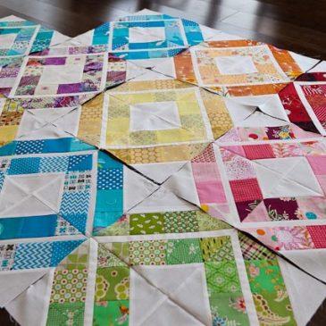 Bee quilt progress, Trellis Crossroads block