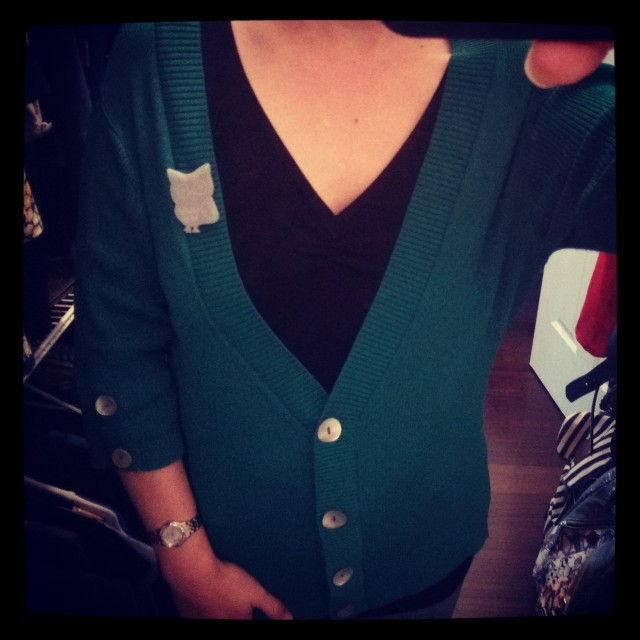 Perfect combination of cardigan with Mother of Pearl buttons, and silver acrylic owl brooch.