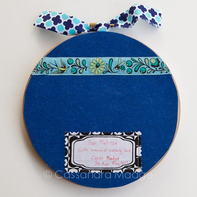 Tula Pink Blue Squirrel Embroidery Hoop Art by Cassandra Madge