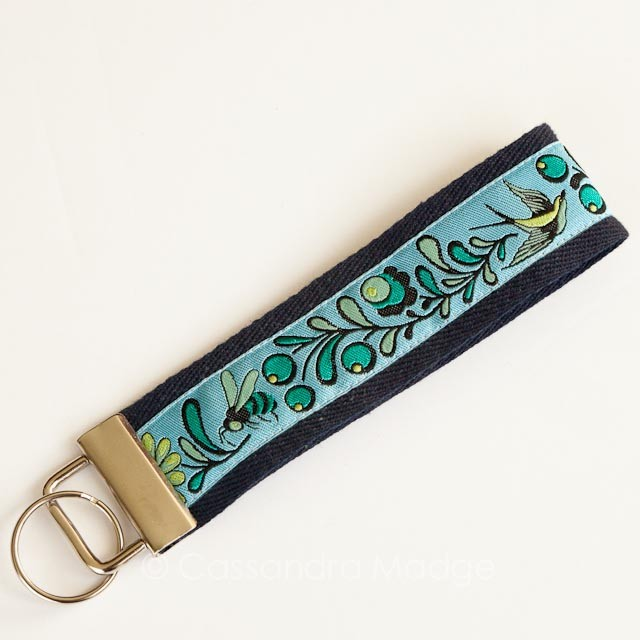 Tula Pink Birds & the Bees Ribbon key fob by Cassandra Madge