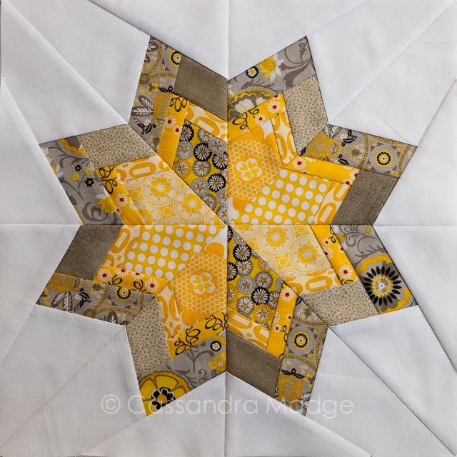 Yellow Grey paper pieced star block