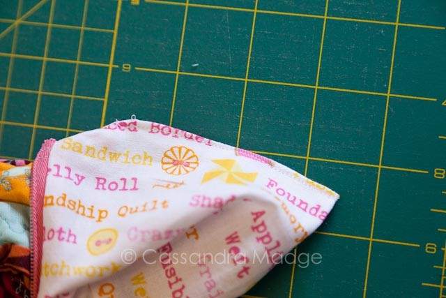 Triangle Pouch with enclosed seams.
