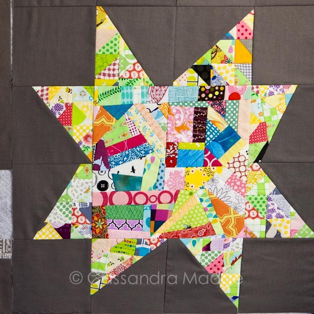 Scrap quilt wonky star