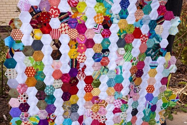Summer Rain hexagon quilt - Cassandra Madge