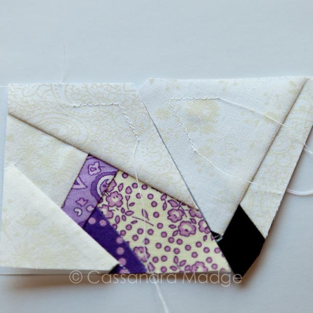 Paper pieced Butterfly Charm Block - Tutorial - Cassandra Madge