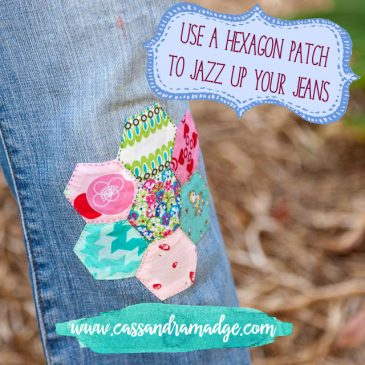 Use a hexagon patch to jazz up your jeans