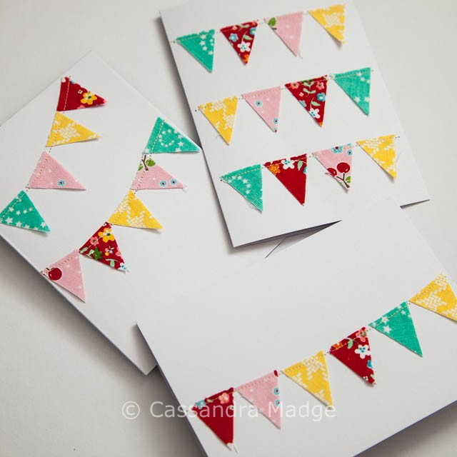 Fabric Scrap Banner Greeting Cards - Cassandra Madge