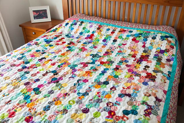 Summer Rain Hexagon Quilt - EPP - Cassandra Madge