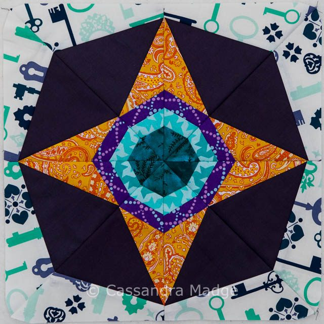 Atomic Star Paper Piecing Block  - Cassandra Madge