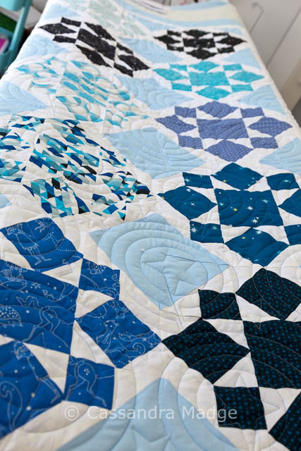 Constellations Quilt – on the quilting frame – Cassandra Madge